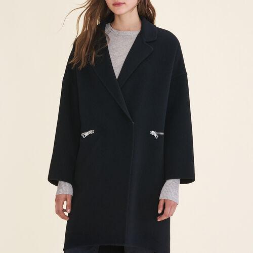 Mantel aus Doubleface-Wolle : Mäntel farbe Schwarz