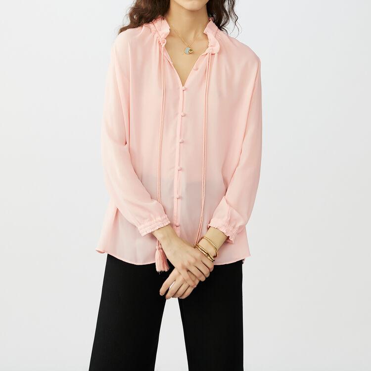 Fließende Bluse mit Tunnelzug : Hemden farbe Rosa