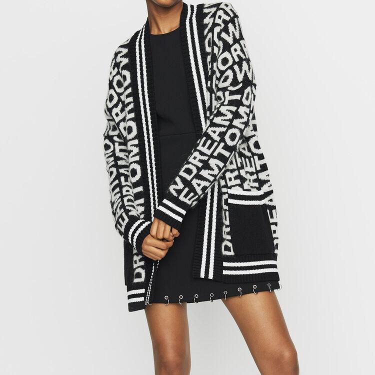 Oversize-Cardigan aus edlem Strick : Bekleidung farbe Schwarz
