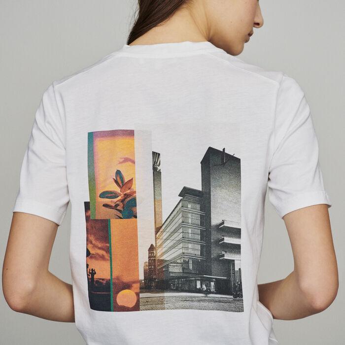 T-Shirt mit Aufschrift und Print : T-Shirts farbe Weiss