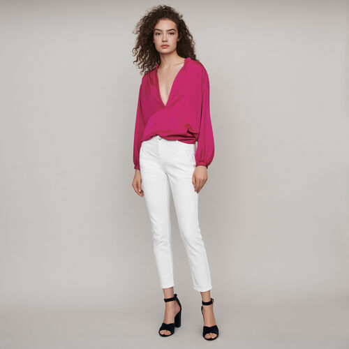 Gerade Jeans mit Cut-Outs : Winter Kollektion farbe Weiss