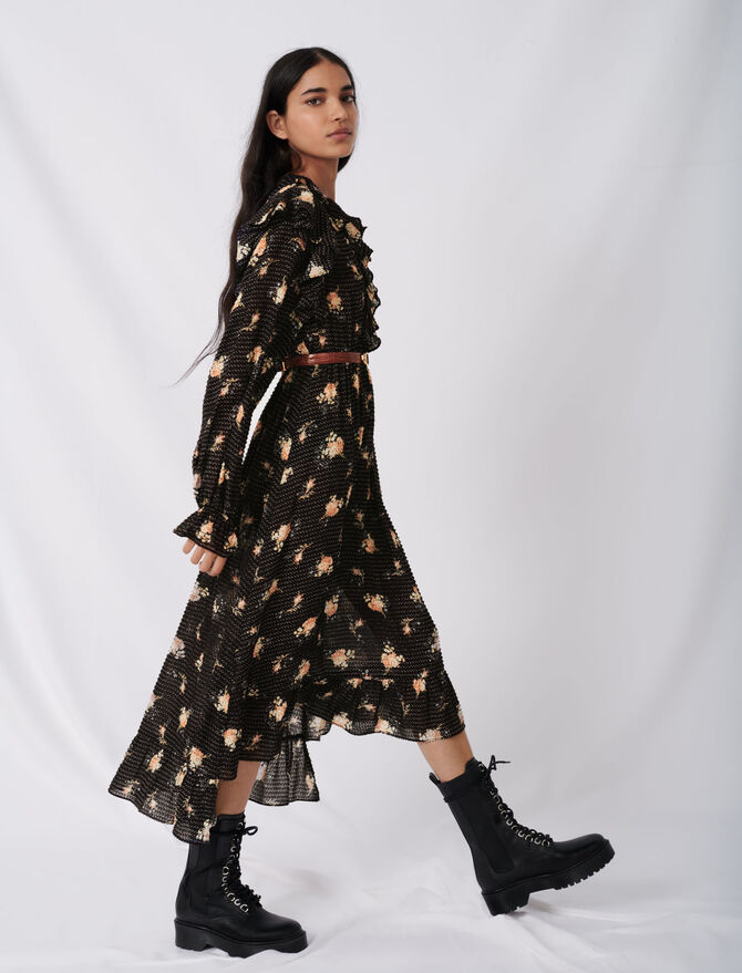 Volantkleid aus bedrucktem Jacquard - Kleider - MAJE