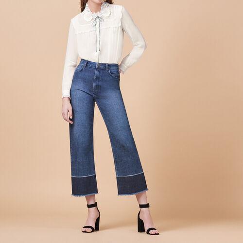 Weite Jeans mit Fransen : Hosen und Jeans farbe Blau