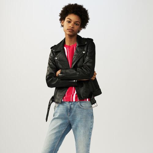 Lederblouson mit  Gürtel : Jacken farbe Schwarz