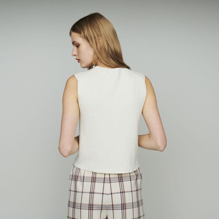 Ärmelloser Pullover aus Mischwolle : Pullover & Strickjacken farbe ECRU