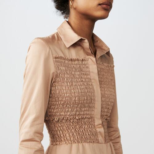 Jumpshort aus gesmokter Baumwolle : Röcke & Shorts farbe BEIGE SABLE