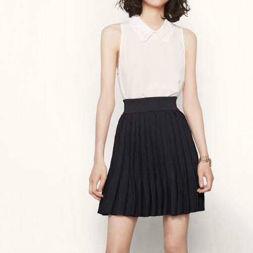 Strickrock mit Fächerplissierung : Röcke und Shorts farbe Schwarz