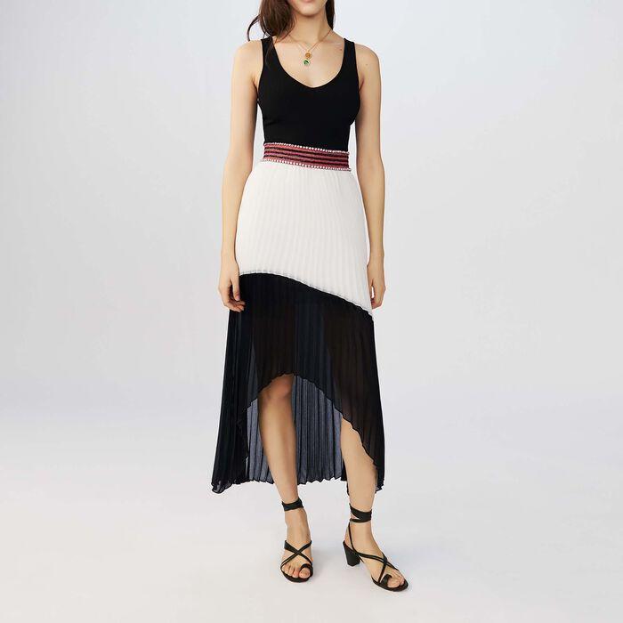 Zweifarbiges langes Plisseekleid : Kleider farbe Zweifarbig