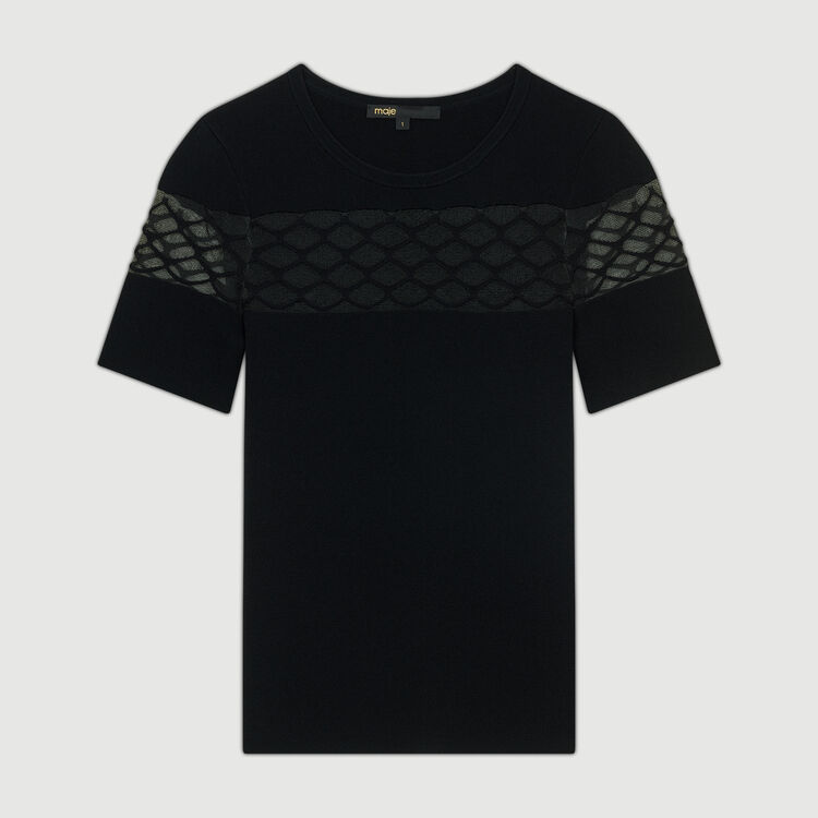 Top aus Stretch-Strick : Strickwaren farbe Schwarz
