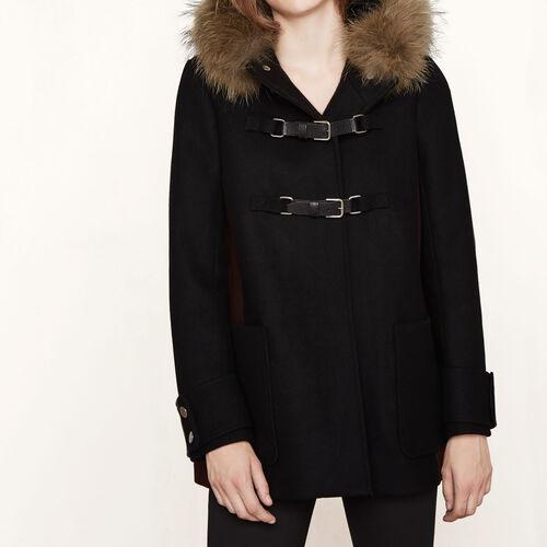 Trapezförmiger Mantel aus Wolle : Mäntel farbe Schwarz