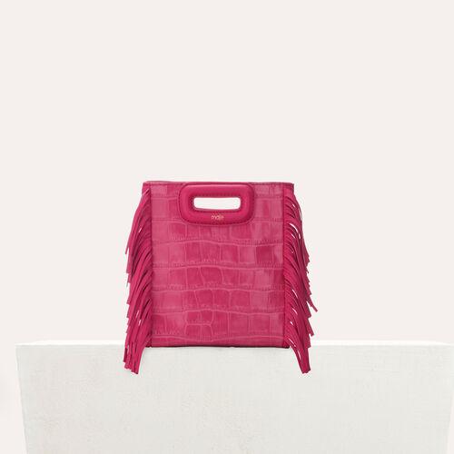 Mini-M-Tasche aus Krokodilleder : Leder farbe Rosa