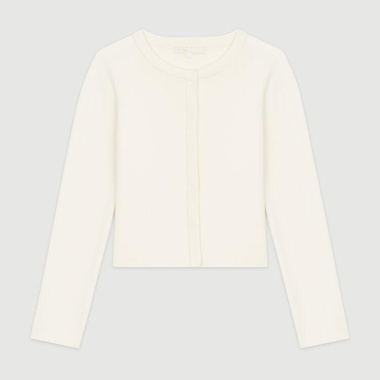 Kurzer Cardigan aus Mischwolle : Pullover & Strickjacken farbe ECRU