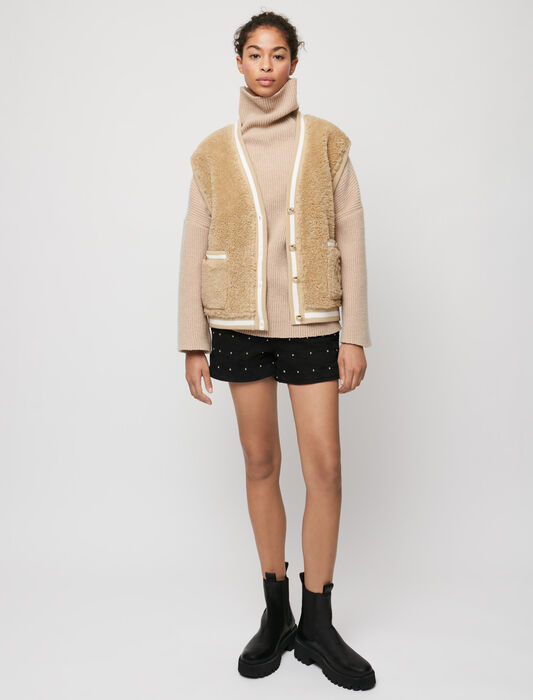 Ärmelloser Cardigan in Pelzoptik : Pullover & Strickjacken farbe Beige