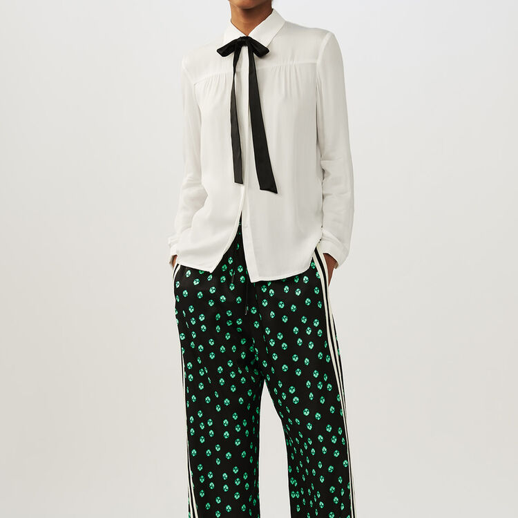 Blouse with tie : Hemden farbe Ecru