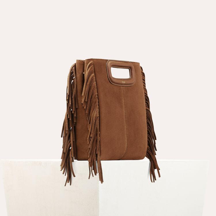 M-Tasche mit Fransen aus Veloursleder : M Tasche farbe Camel