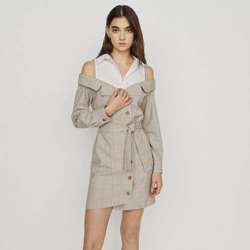Kurzes Trompe-l'oeil-Kleid : Kleider farbe CARREAUX