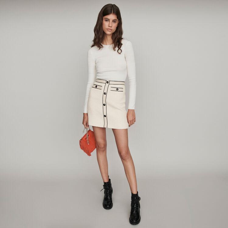 Gerader Rock im Konstrast Tweed-Effekt : Röcke & Shorts farbe Ecru