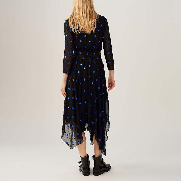 Kleid aus besticktem Musselin : Kleider farbe Schwarz