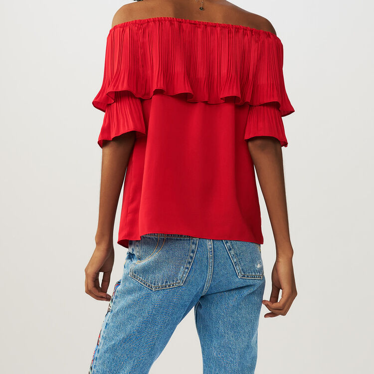 Pleated frills top : Tops farbe ROUGE