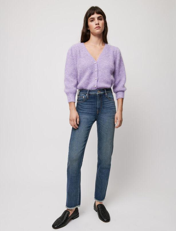 마쥬 청바지 MAJE Slim-Jeans, ausgefranster unterer Saum,Blau