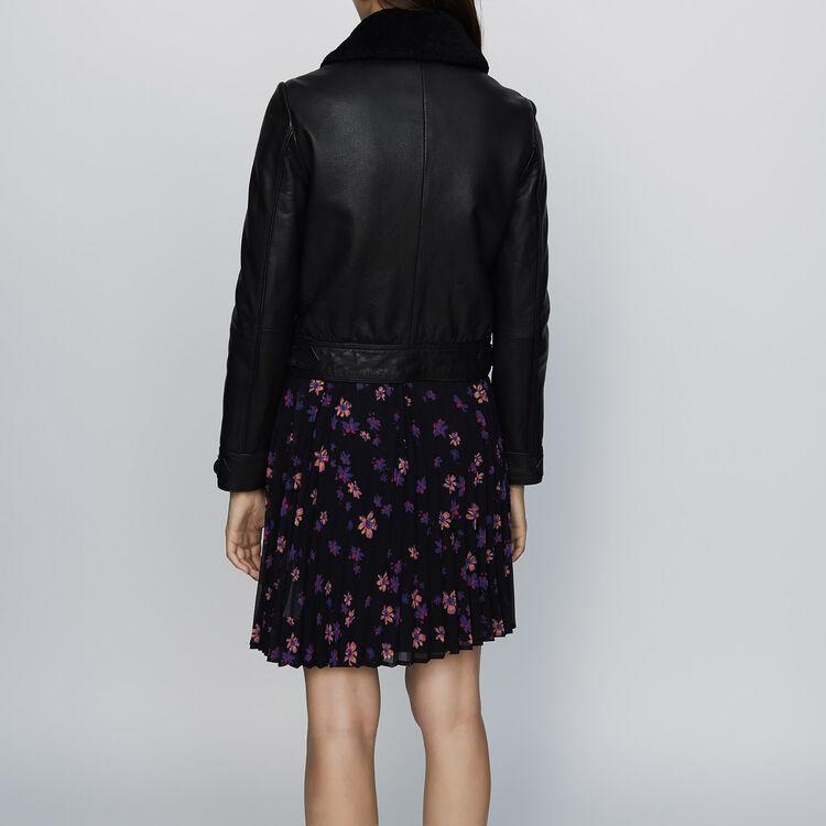 Lederjacke mit Kragen aus Schafsfell : Jacken farbe Schwarz