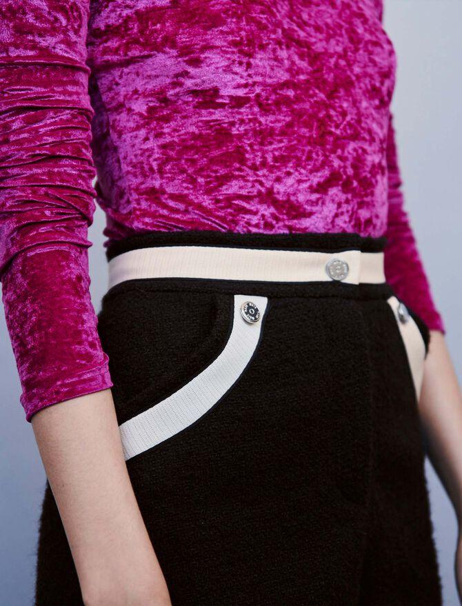 Short mit Tweed und Konstrast-Streifen - Röcke und Shorts - MAJE