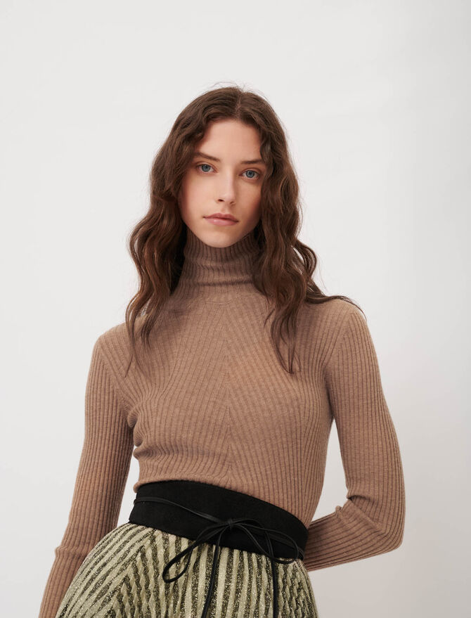 Feinripp-Pullover mit Stehkragen - Diese Woche - MAJE