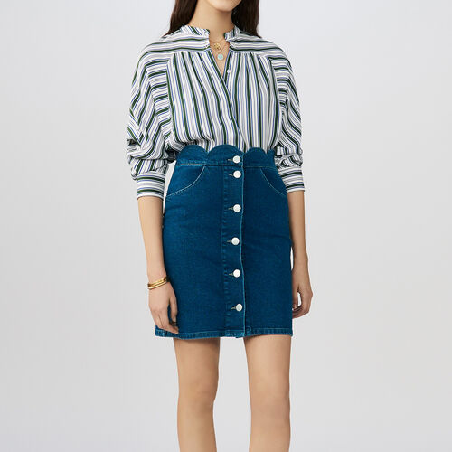 Denim shirt with fancy cutting : Röcke & Shorts farbe Denim