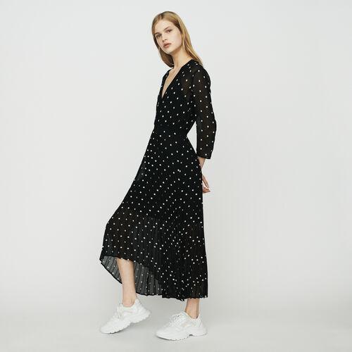 Langes Plissee-Kleid : Kleider farbe SCHWARZ