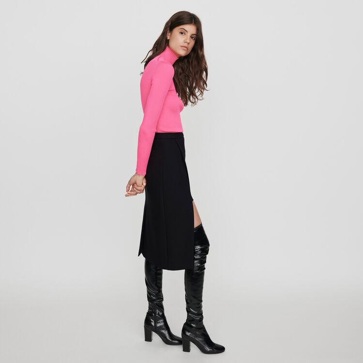 Gerader Midi Falten Rock : Röcke & Shorts farbe Schwarz