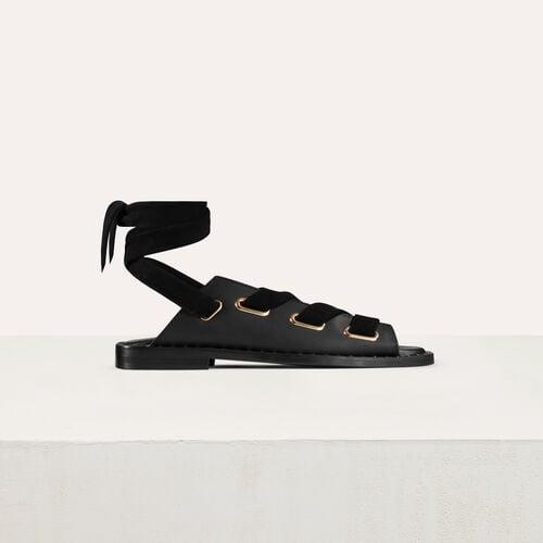 Flache Ledersandalen : Schuhe farbe Schwarz