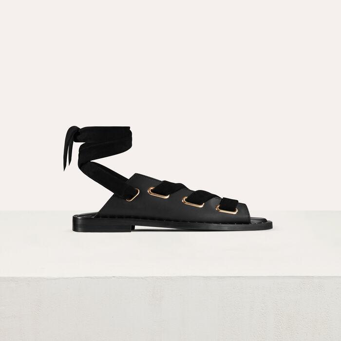 Flache Ledersandalen : Flache Schuhe farbe Schwarz