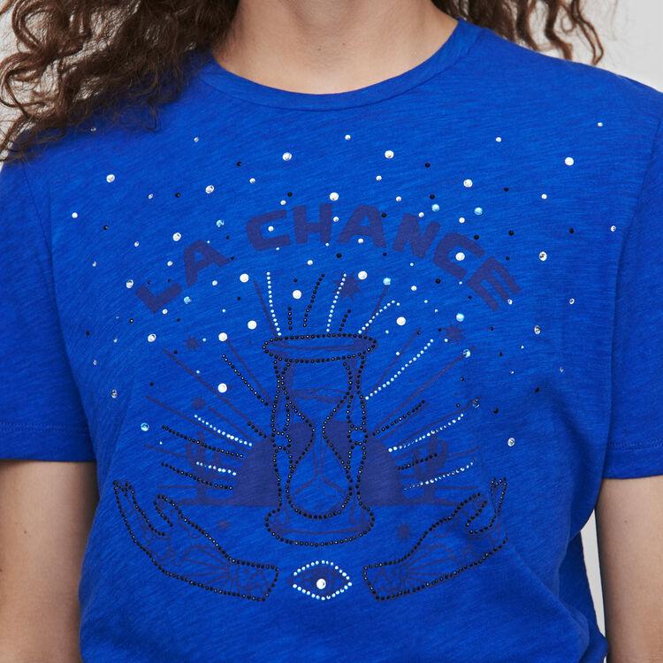 T-Shirt mit Stickereien : T-Shirts farbe Blau