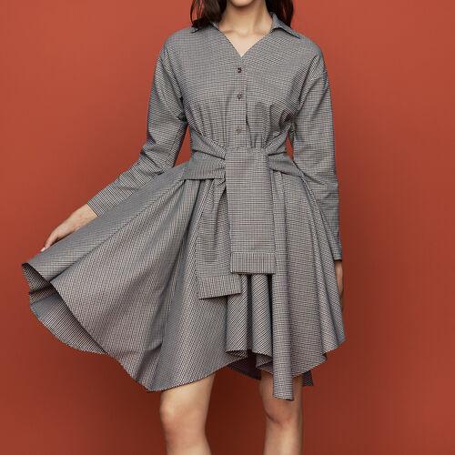 Hemdkleid mit Hahnentrittmuster : Kleider farbe CARREAUX