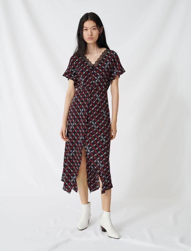Langes Kleid aus Krepp mit Halstuchprint - Kleider - MAJE