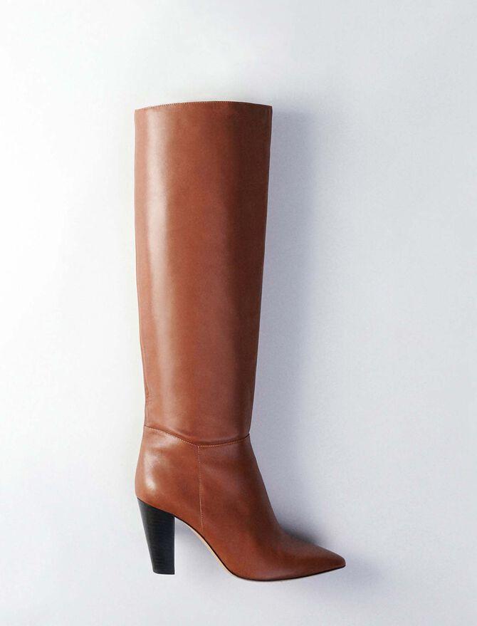 Stiefel mit Absatz aus Glattleder -  - MAJE