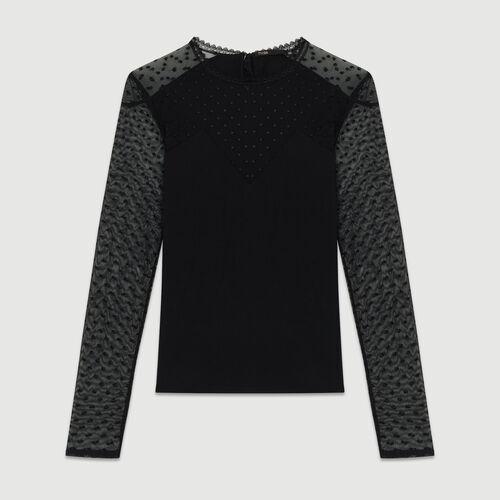 T-Shirt aus Baumwolle und Tupfenmull : T-Shirts farbe Schwarz