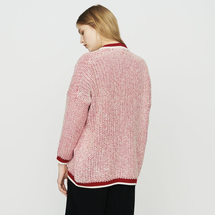 Cardigan aus dreifarbiger Wolle : Pullover & Strickjacken farbe Rot