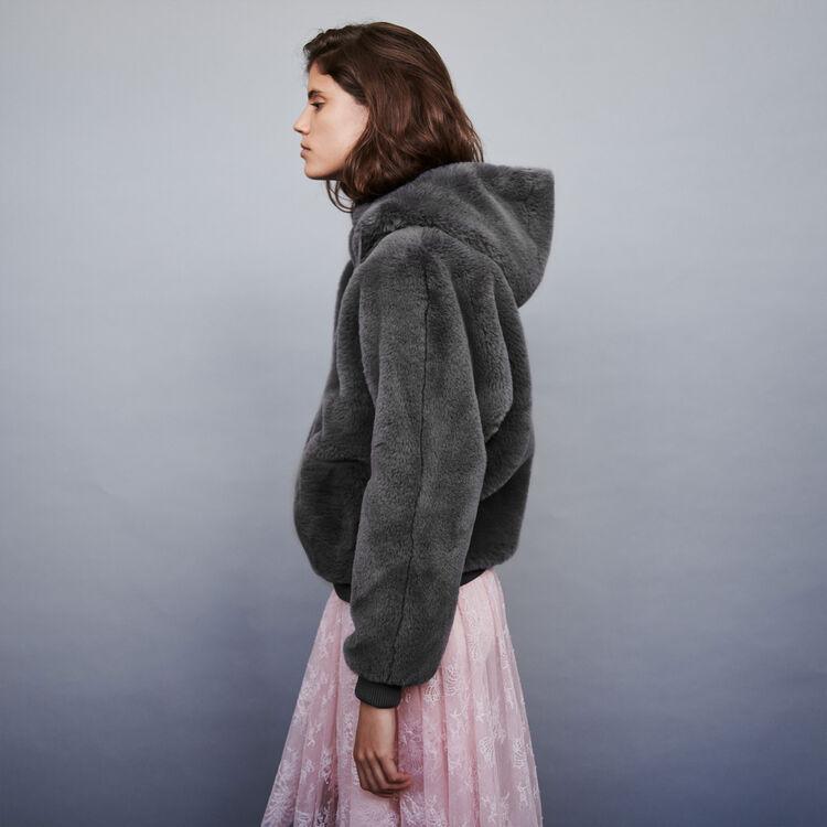 Kunstpelz Blouson mit Kapuze : Mäntel & Jacken farbe Grau