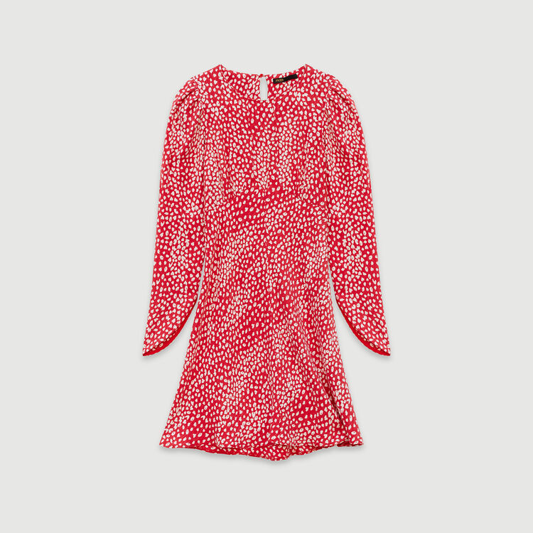 Gerafftes Kleid mit Jacquard Print : Kleider farbe Rot