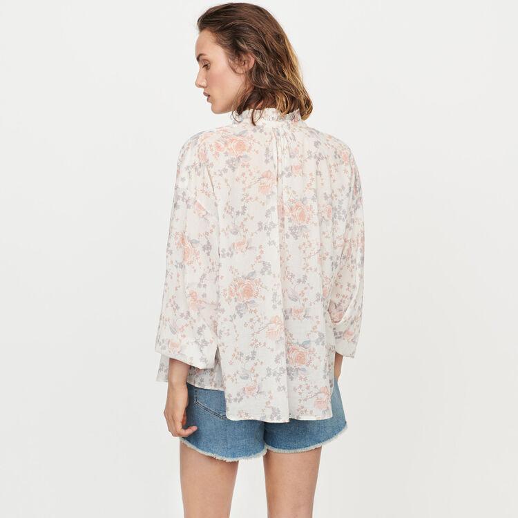 Bluse mit Blumen aus Baumwoll-Voile : Tops & Hemden farbe Rosa