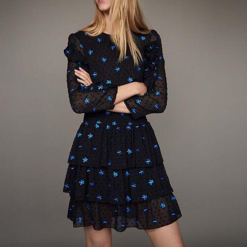 Besticktes Chiffon-Kleid : Kleider farbe Schwarz
