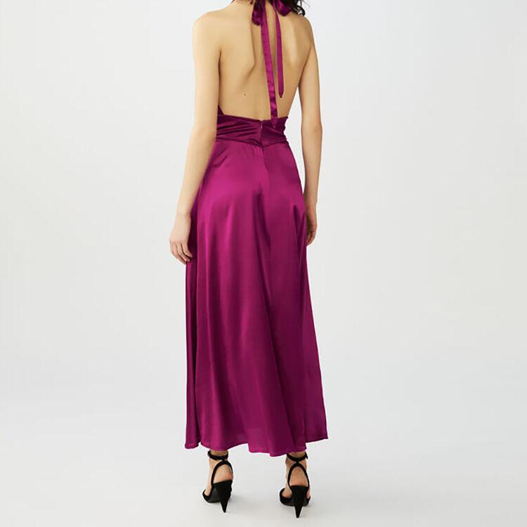Langes ärmelloses Seidenkleid : Kleider farbe Fuchsiafarben
