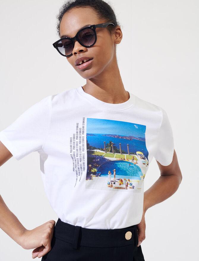 Weißes T-Shirt mit Siebdruck - T-Shirts - MAJE