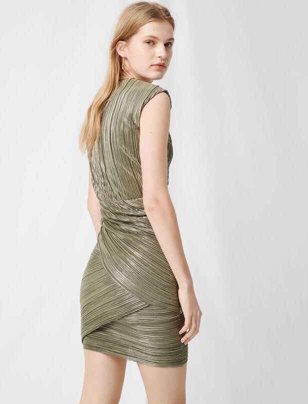 마쥬 원피스 MAJE Goldfarbenes Plisseekleid aus Lurexgarn,Khaki