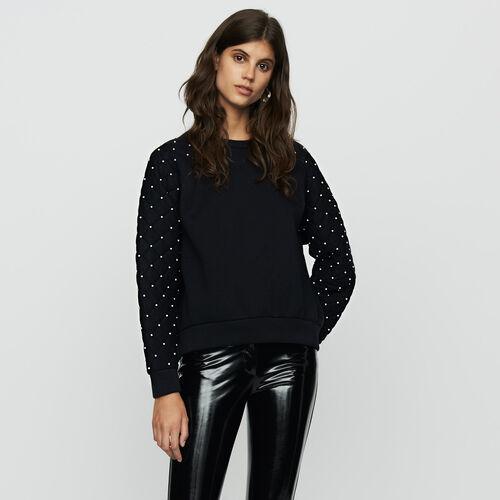 Sweatshirt mit Perlen : Sweatshirts farbe Schwarz
