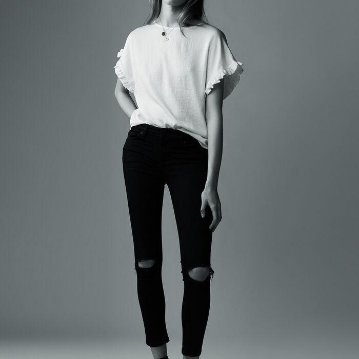 7/8 Slim-Jeans mit Stickerei : Jeans farbe Schwarz
