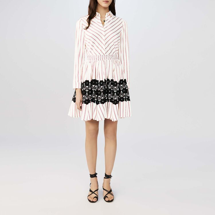 Gestreiftes Hemdkleid mit Guipure : Kleider farbe Gestreift