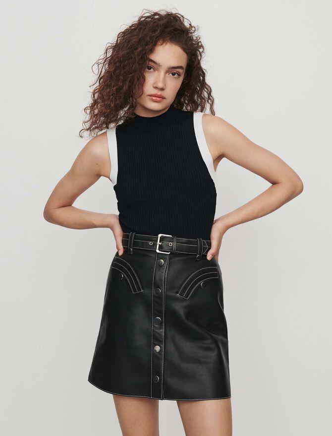 Kurzärmeliger Pullover mit Streifen - Pullover & Strickjacken - MAJE