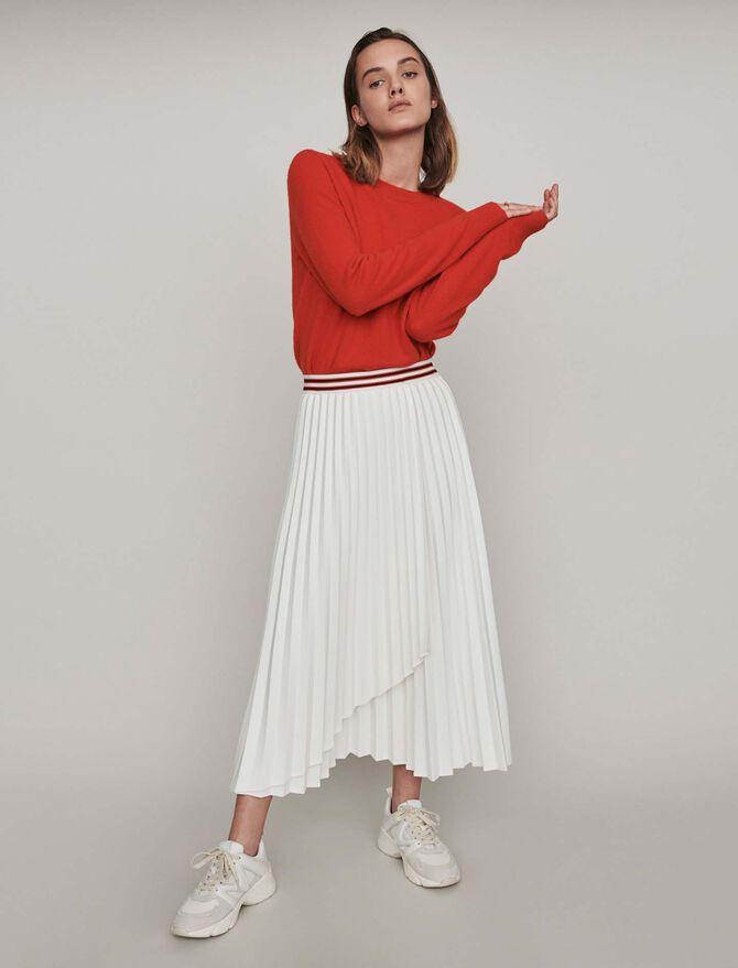 Plissee Kleid mit Kontrast Streifen - Midseason-Sales_UK_30% - MAJE